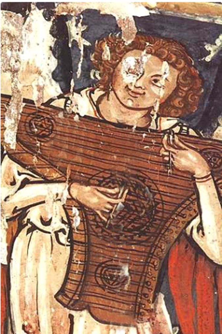 Ange jouant du psalterion Tour eucharistique, Tabernacle de Saint-Savin vers 1325. France / medieval / music / 14th century