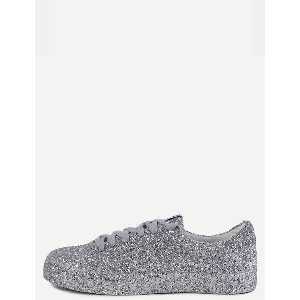 Silver Sequin Leather Low Top Sneakers (576.250 IDR) ❤ liked on Polyvore featuring shoes, sneakers, silver sequin sneakers, glitter sneakers, silver platform shoes, platform sneakers and silver sneakers