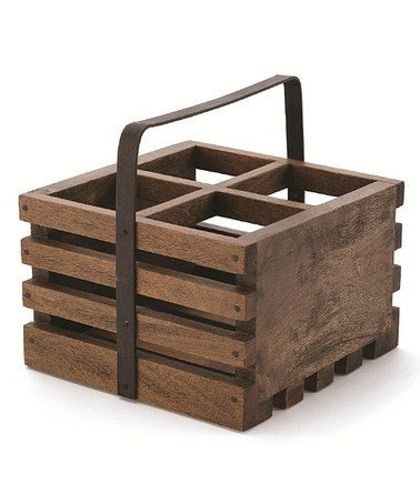Love this Rustic Four-Bottle Wine Caddy on #zulily! #zulilyfinds // Four bottles fit inside this handcrafted wine caddy that makes an elegant accent on the kitchen counter and a terrific tote for providing picnics with a bit of bubbly, white or red.      9'' W x 9'' H x 9'' D     Holds four bottles     Mango wood / iron