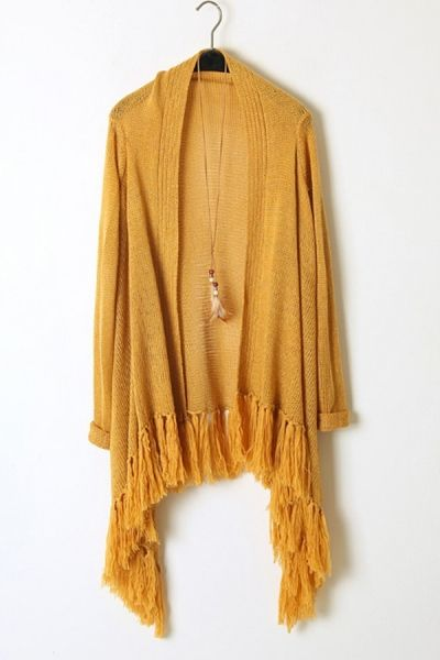 Tasseled Bottom Open Front Cardigan