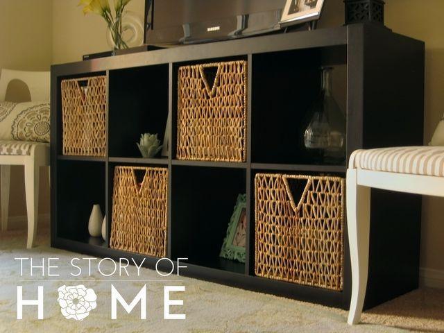 turn a bookcase on its side & use at a tv console