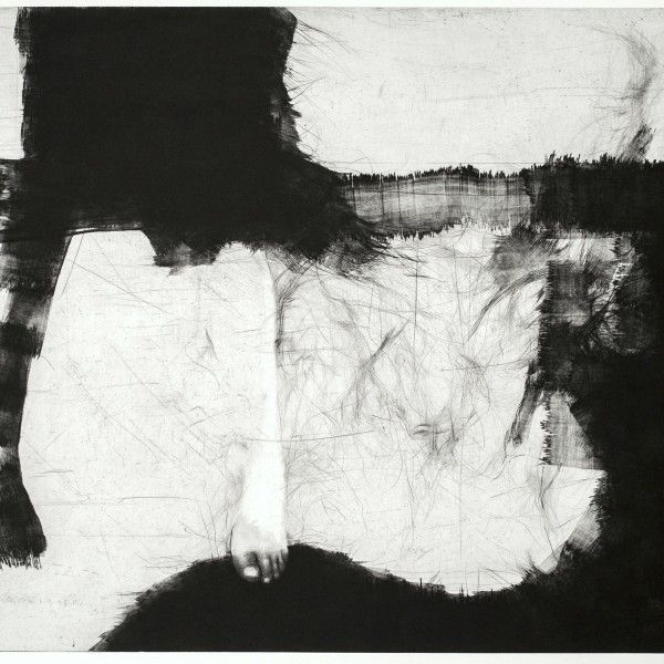 Tiina Kivinen, The earth under my feet, 2014, mezzotint, drypoint, 90cmx125cm
