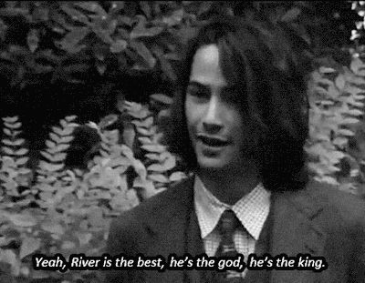 Keanu Reeves talking about his good friend River Phoenix in an interview, 1991. (gif)