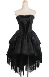 Punk Rave gothic asymmetric dress with tassels