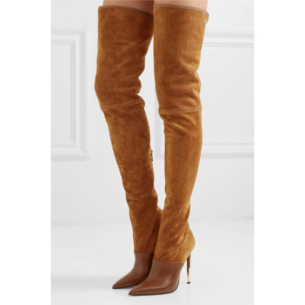 d7c3538eb318f Balmain Amazon suede and leather over-the-knee boots ($2,230 ...