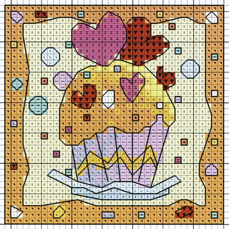 'Cupcake Hearts' from Michael Powell's 'Mini Cross Stitch' book (paperback, pub. Search Press). There are twenty to make and they are all very quirky and appealing. I have made most of the pictures in this book for someone or other and they are a real pleasure to work on. My attempt at this design can be found at https://uk.pinterest.com/pin/504614333230744545/