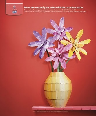 paint chip flowersCrafts Ideas, Painting Swatches, Paint Chips, Paint Swatches, Origami Flower, Sherwin Williams, Chips Flower, Prints Ads, Painting Chips Art