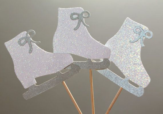 "Winter/Christmas Cupcake Picks ""Ice Skates""  Set of 12 by TrimAndTinsel, $7.80"