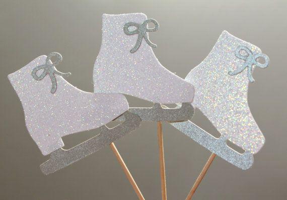 "Winter/Christmas Cupcake Picks ""Ice Skates""  Set of 12 by TrimAndTinsel, $7.80"