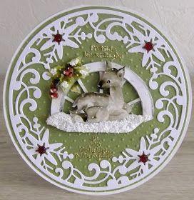 """Hallo bezoekers van mijn blog.   Vandaag een paar kerstkaarten gemaakt.   Bij  't Hobby Hoekje """"De Linge""""  in Leerdam zijn de afgelopen week..."""