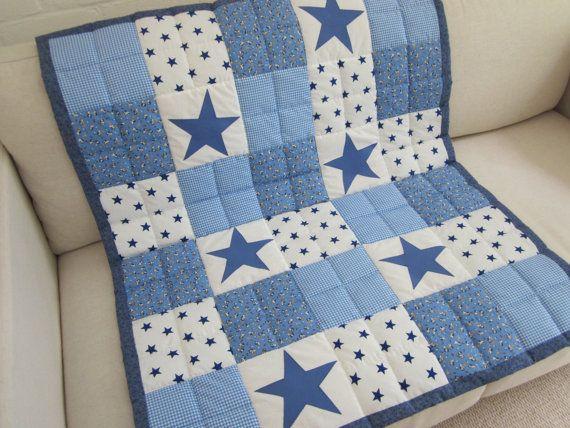 Handmade Boy Star patchwork cot quilt  throw  comforter