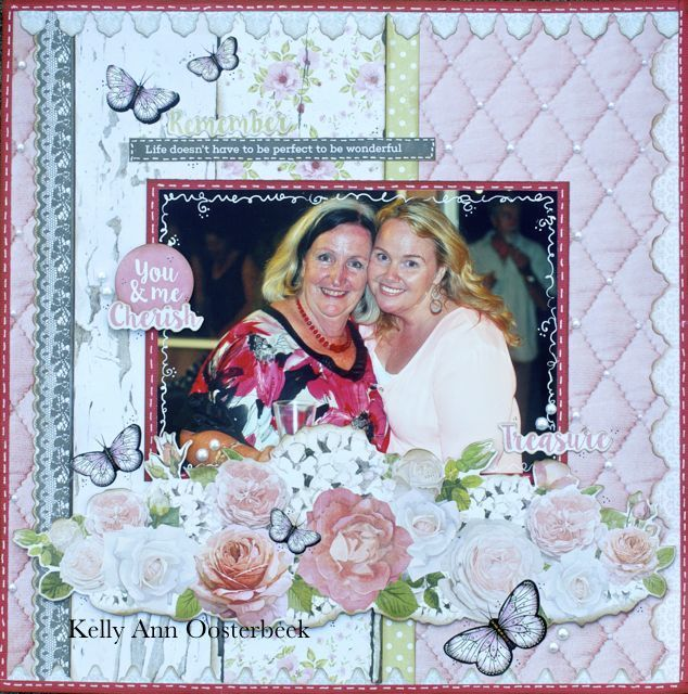Layout By Kelly-ann Oosterbeek made using the Cottage Rose Collection from Kaisercraft. www.amothersart.com.au