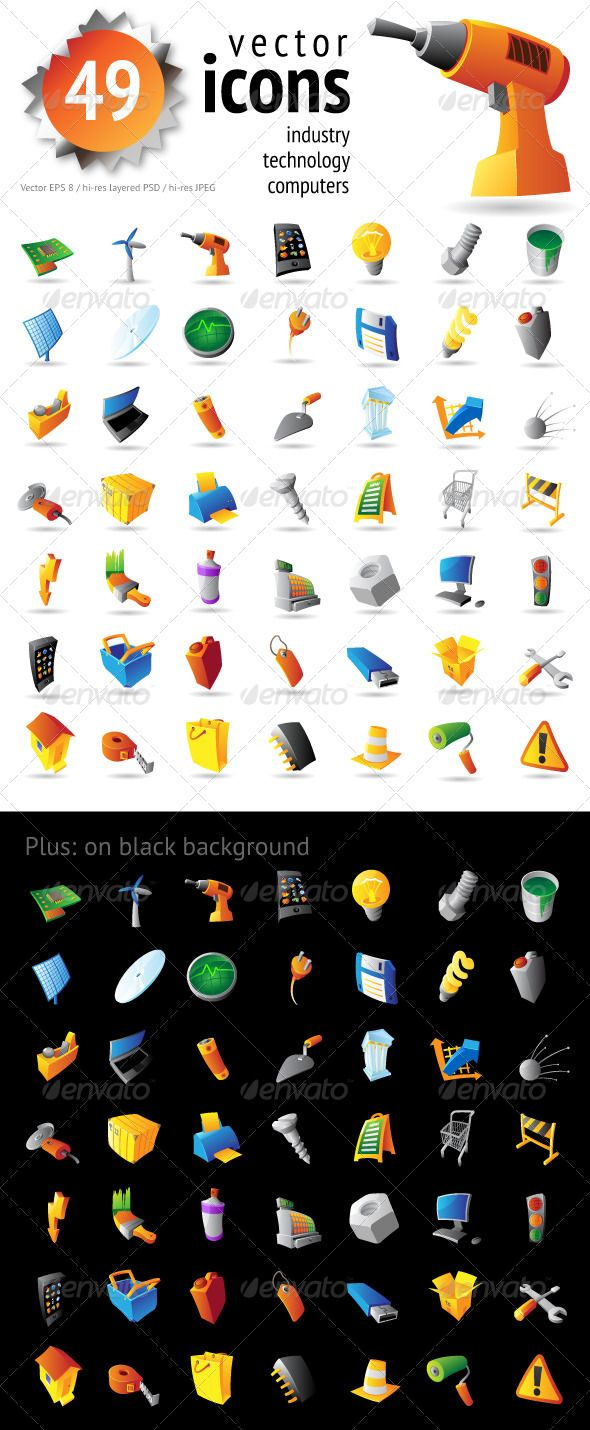 Icons for Industry, Technology and Computers  #GraphicRiver         Icons for Industry, Technology and Computers on white and black backgrounds. Fully editable vector saved as EPS-8, also included: hi-res JPEGs and PSD.     Created: 4April13 GraphicsFilesIncluded: PhotoshopPSD #JPGImage #VectorEPS HighResolution: No Layered: No MinimumAdobeCSVersion: CS Tags: business #clip-art #computer #computerpart #concept #construction #graphics #icons #illustration #industry #laptop #object #phone…
