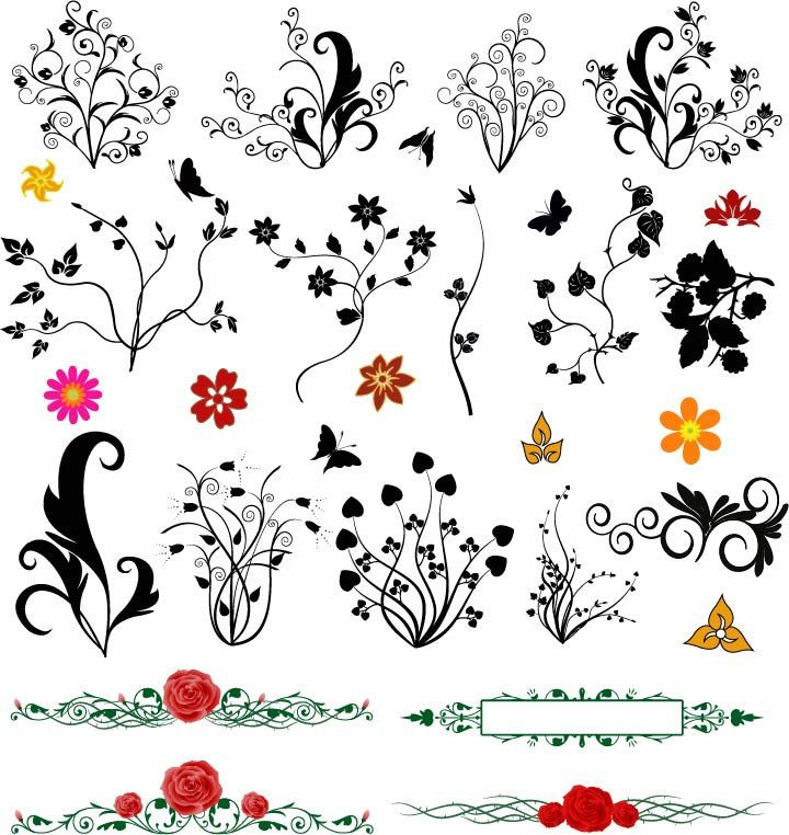 Floral Flowers Leaf Vector Design Elements Digital Download PNG EPS PSD Transparent Background Border Clipart Clip Art by SlavGraphics on Etsy