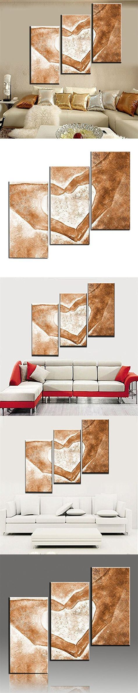Modern Abstract Oil Painting on Canvas 3 Piece, Handpainted Love Paintings Wall Art for Living Room Home Decor Framed Stretched Ready to Hang, Yellow (24Wx36L inch)