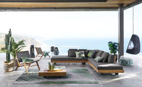 Tappeto da esterno grigio con stampa a foglie di palma