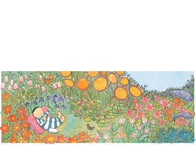 'Smile at the Flowers', limited edition print by Alison Lester. From picture book 'Kissed by the Moon' (Penguin Books).   Available at Books Illustrated.