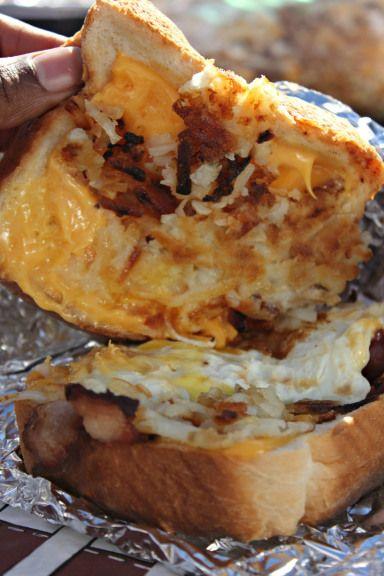 Breakfast tailgating sandwiches