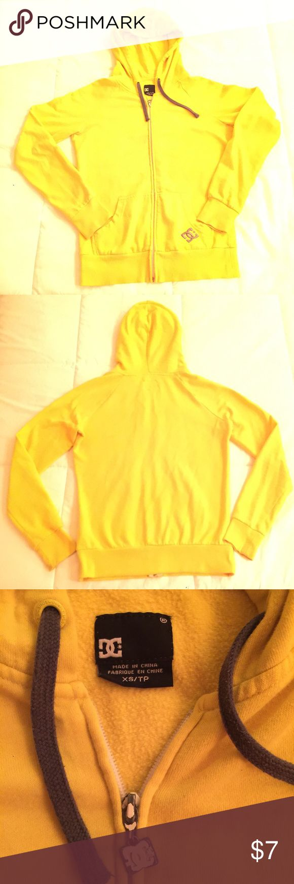 D.C. Yellow Pull Over Sweater. Yellow Zip Up Sweater with Hood. Hole under left arm shown in picture. DC Sweaters