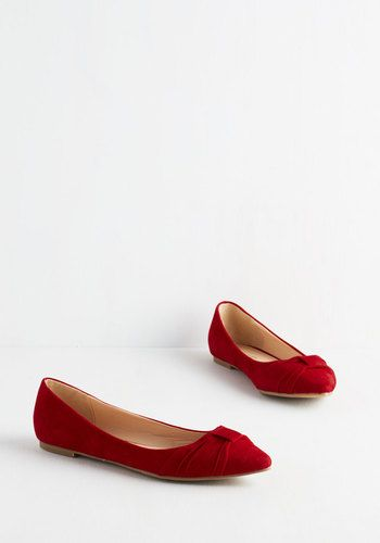 Knot a Moment to Spare Flat. For a haute look in a hurry, slip into these  scarlet flats - available at ModCloth this June!