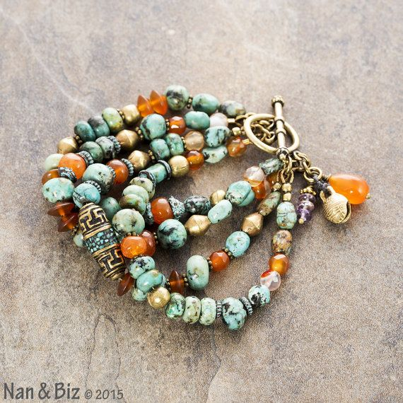 Chunky African turquoise bracelet, rustic boho jewelry with real Nepalese focal bead, carnelian, Ethiopian brass, blue green beaded bracelet by NanandBiz