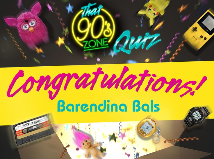 """You guessed what year the search engine Google was founded, the artist who achieved 14 Billboard No. 1's during the 90's, and the voice of Woody the Cowboy in 1995's 'Toy Story'…  A big congratulations to Barendina Bals! You're the lucky winner of R5,000!  There's 1 more prize left to win! Take """"That 90's Zone Quiz"""" just one more time to increase your chances of winning the last R5,000"""