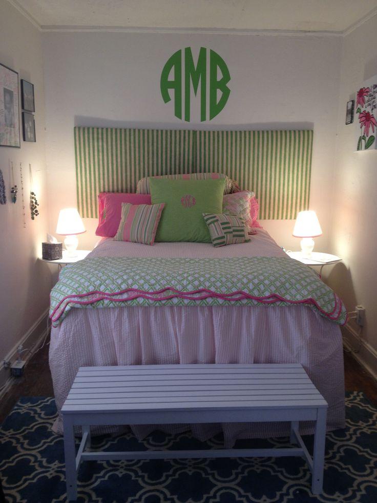 College house monogram room pink green Lilly Pulitzer dorm seersucker preppy