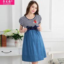 2016 vestido de embarazada vaquero ropa para el verano edición de Han de moda stripe mujeres embarazadas vestido de manga corta(China (Mainland))