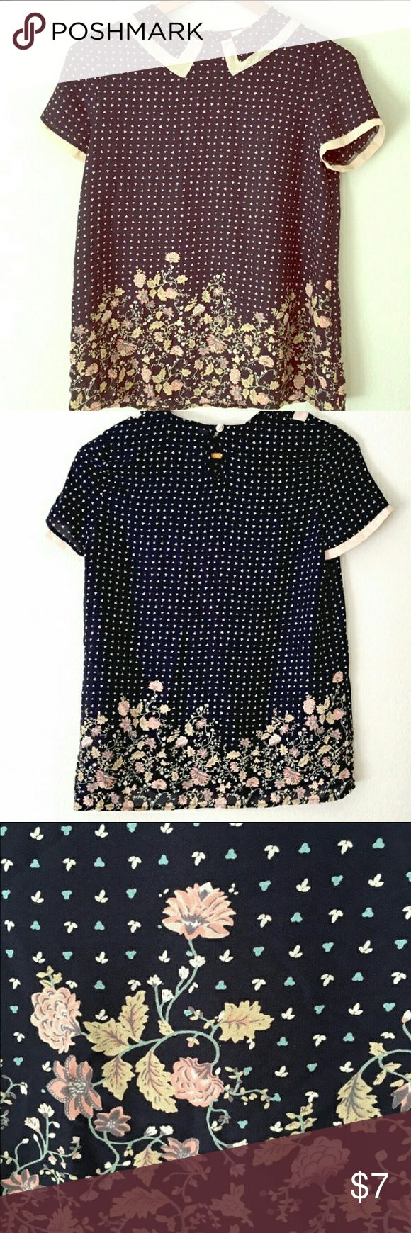 """Adorable flower blouse with a cute collar Dark blue base peach and pink print. 25"""" long, no stretch, adorable peach flower pattern and illusion collar. Tops Blouses"""