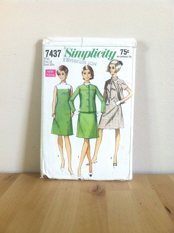 Cute 60s A Line Dress Pattern, Simplicity 7437 Misses' A Line Dress and Jacket, 1960s Mad Men Style, 60s Retro Women's Outfit Vintage Sewing