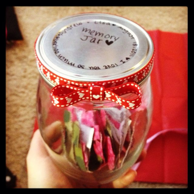 Great idea for the couples. Our relationship memory jar. I've been keeping track of dates, memories, inside jokes etc. that we've had while dating and writing it on slips to put in this mason jar. On our one year anniversary I'm giving it to him so we can share it together :) very cute and thoughtful gift idea