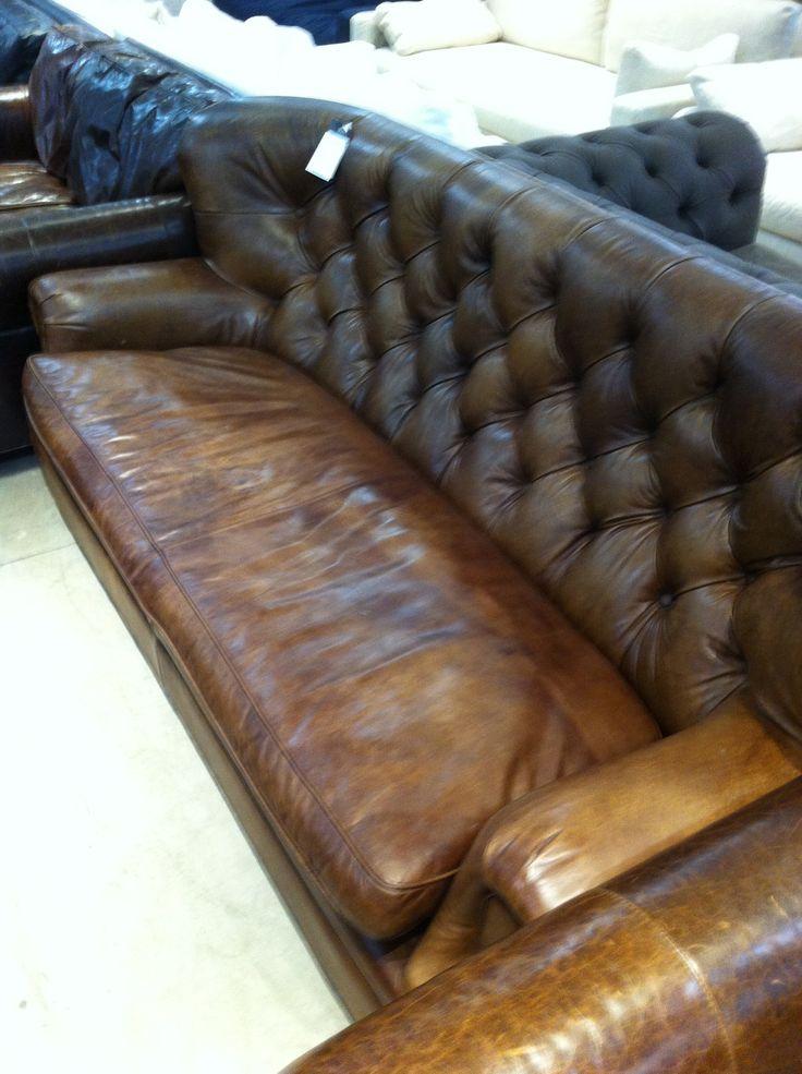 Restoration Hardware Churchill Vintage Cigar Couch