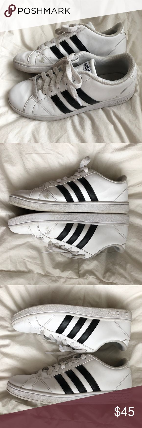 ADIDAS Neo Cloudfoam Advantage Shoes Size 8 Adidas Neo Cloudfoam shoes in size women's 8 (men's 6.5). White with black stripes. Please see photos - they show signs of wear, especially the inner toes of both shoes. Does not come in original box.   📬 Fast shipping  📦 10% for bundles of 3+ 🛍Reasonable offers are always welcome adidas Shoes Athletic Shoes