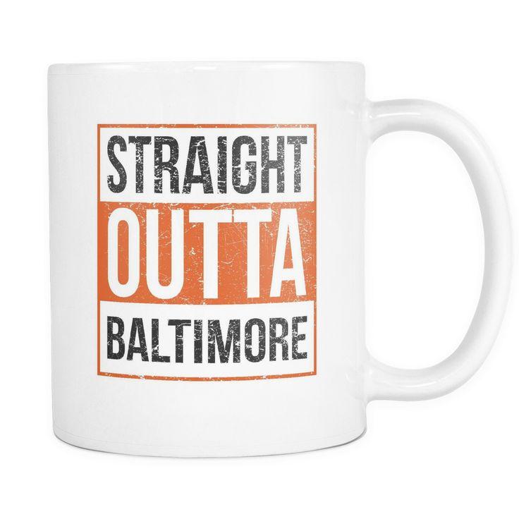 Straight Outta Baltimore Baseball Coffee Mug, 11 Ounce