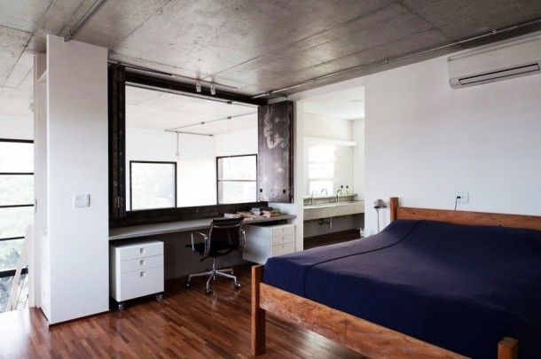 Apartment - Stylish And Modern Bedroom Design With Minimalist Dresser Table At Fadilga 727 Residence Applied Wood Bedframe And Dark Blue Bedspread: Fidalga 727 an Elegant Modern Duplex Apartment for Modern Individual