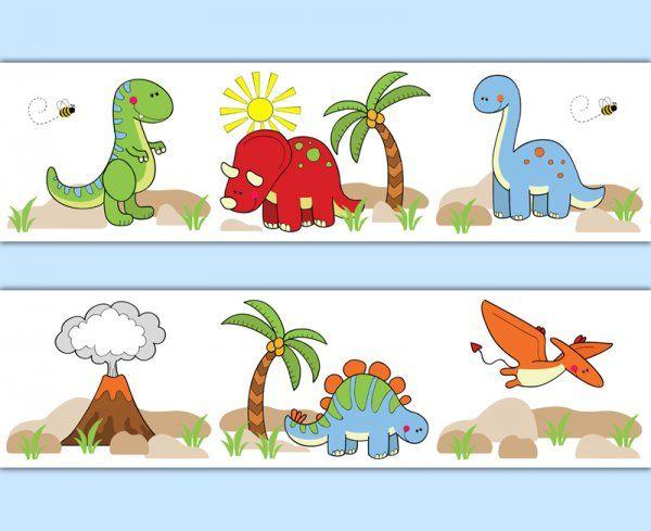 Dinosaur wallpaper border wall art decals for baby boy prehistoric dino nursery or any children - Paperboy dinosaur wallpaper ...