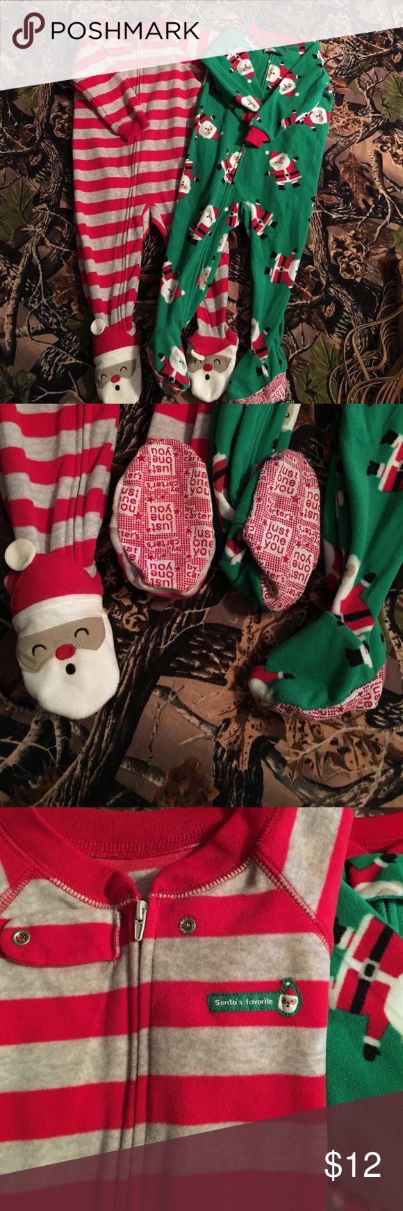 18month Christmas pajamas Christmas footie pajamas! Carters size 18m. Perfect condition! I don't believe either of them were worn. My boys grew too fast 😉 Carter's Pajamas Pajama Sets