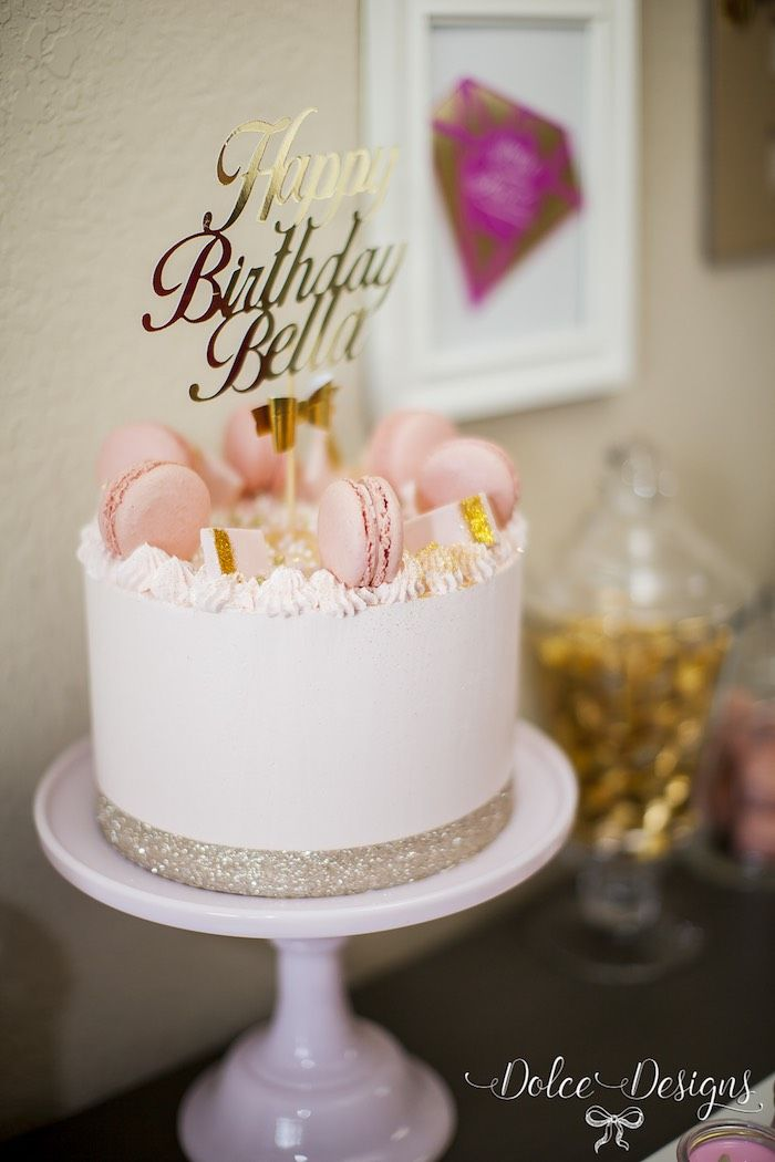 Love the gold scroll letter cake topper! Modern Pink + Gold Birthday Party via Kara's Party Ideas KarasPartyIdeas.com