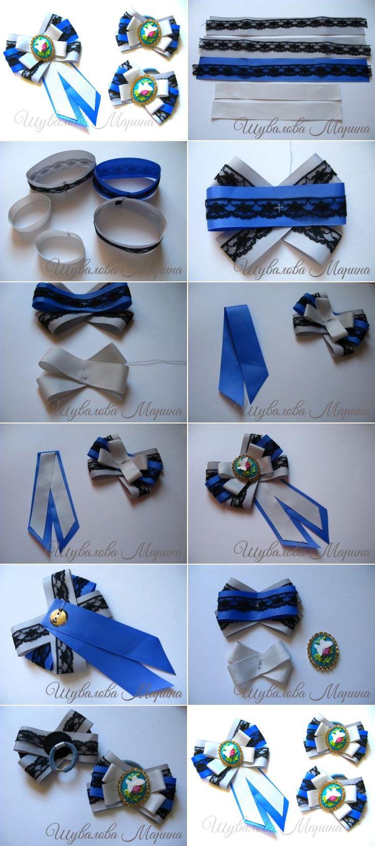 Мастер-класс на галстук-брошь из лент для девочки в школу. #kanzashi