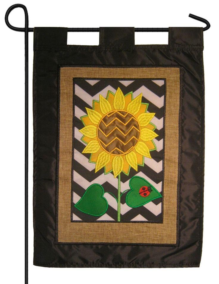IAmEricas Flags   Burlap Chevron Sunflower Double Applique Garden Flag,  $18.00 (http:/