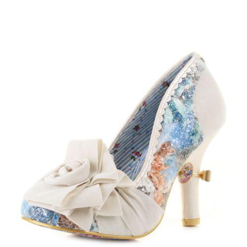 Womens-Irregular-Choice-Washington-High-Heel-Wedding-Cream-Court-Shoes-Sz-Size