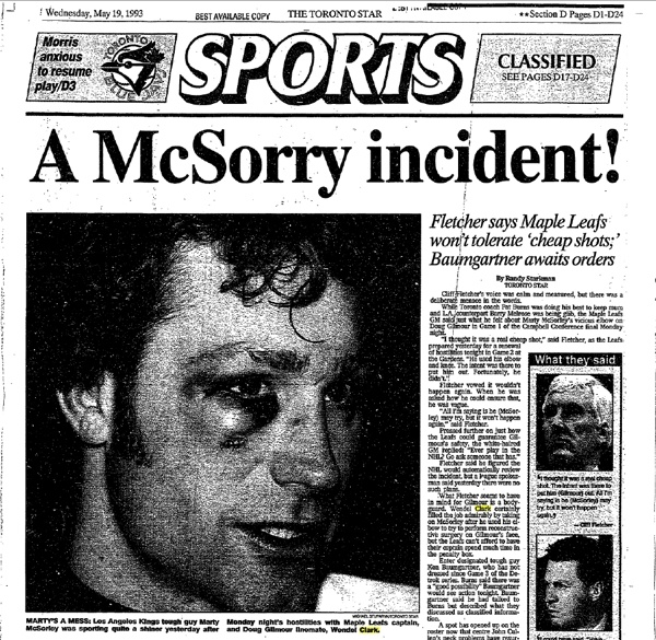 Aftermath of a Wendel Clark right hand.