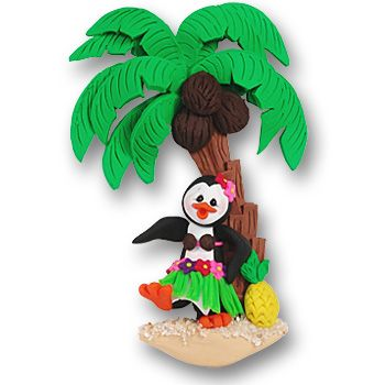Polly Penguin  with Palm Tree  Personalized Ornament