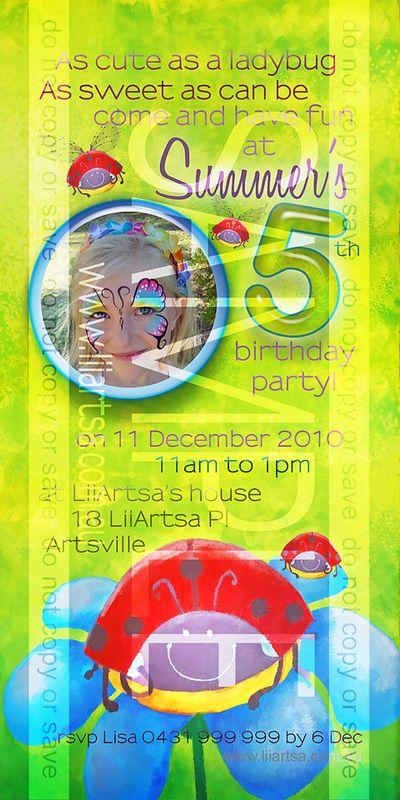Ladybird Childrens Birthday Invitations