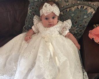 Doop/zegen jurk en wit katoenen Slip 3 tot 6 door CherryHillCrochet