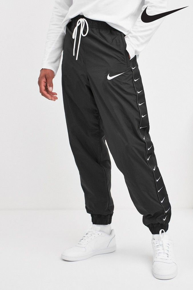 Mens Nike Black Swoosh Woven Jogger Black Modest Workout Clothes White Overalls Outfit Hoodie Fashion