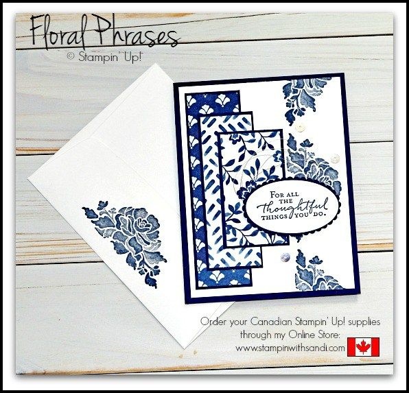handmade card by Canadian Stampin Up Demonstrator Sandi MacIver ... Floral Phrases ... navy and white ... patterned paper panels ... Freshly Made Sketches #290 ...