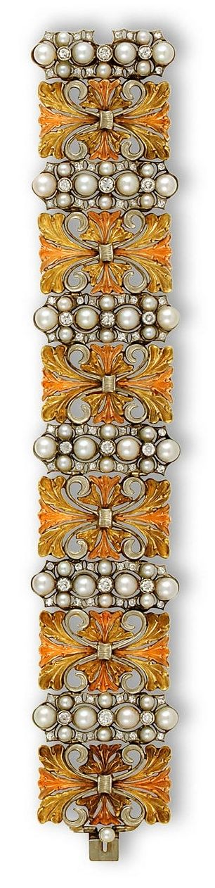 Stunning Buccellati 18K tricolor gold, cultured pearl and diamond bracelet by Deborah M Lock