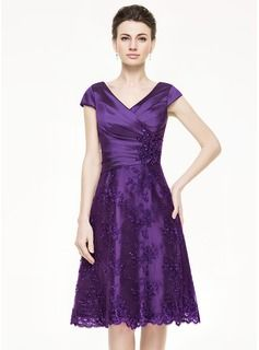 A-Line/Princess V-neck Knee-Length Taffeta Lace Mother of the Bride Dress With Ruffle Beading Sequins (008062862) - JJsHouse