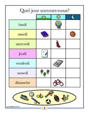 French Days of the Week Poster - Italian, French and Spanish Language Teaching Posters | Second Story Press